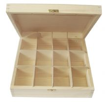 Pine Wood 12 Compartment Tea Box With Clasp